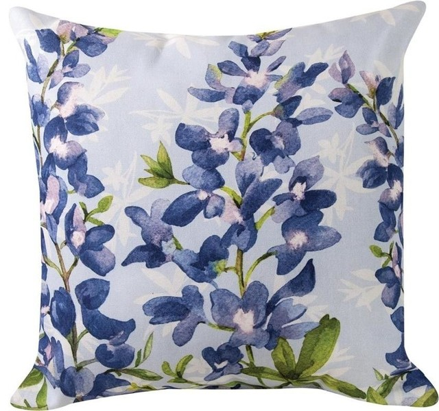 Blue Bonnets Floral Print Indoor/Outdoor Decorative Throw Pillows ...
