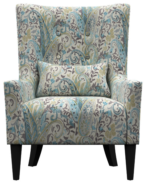 Orilla Shelter High Back Wing Chair Midcentury