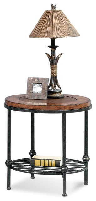 Bentley Round End Table With Inset Leather Transitional Side Tables And End