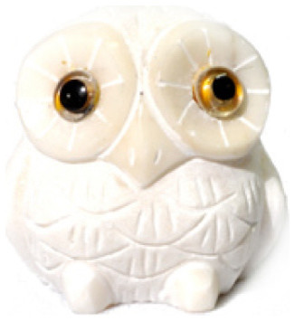 White Marble Snowy Owl 2 Contemporary Decorative Objects And Figurines By T Trove Asian Decor