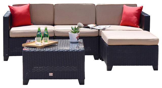 rattan wicker sofa set sectional outdoor garden patio furniture 5 piece tropical outdoor - Garden Furniture Sofa Sets