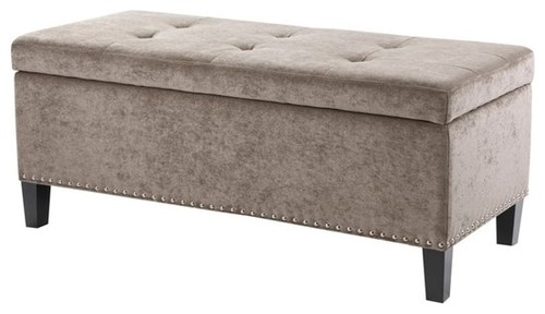 Shandra II Tufted Top Storage Bench, Taupe