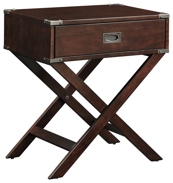 Alastair Wood Campaign Accent Table Nightstand, Espresso.