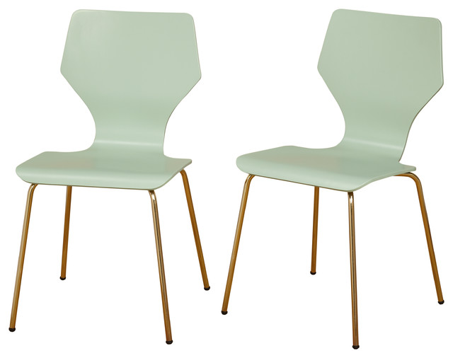 Ella Mid Century Modern Bentwood Dining Chairs, Mint, Set Of 2