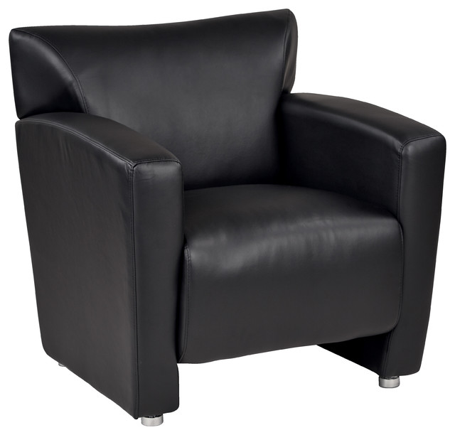 Officestar Black Faux Leather Club Chair With Silver