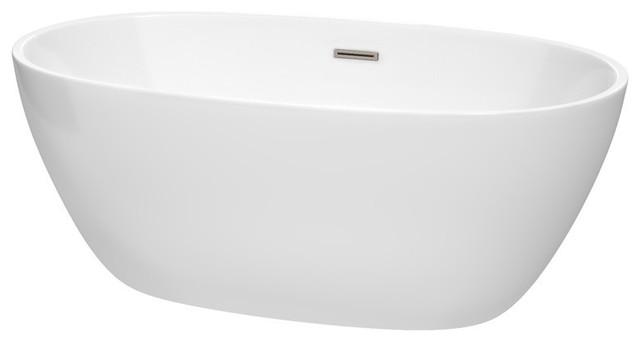 "Juno 59"" White Soaking Bathtub, Brushed Nickel Drain And Overflow Trim."