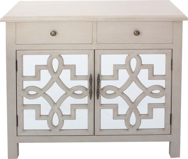 Coventry 2 Door Antique White Mirrored Cabinet