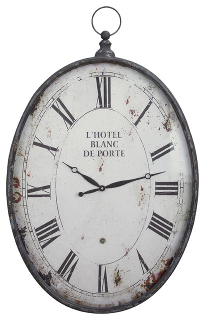 Oval Metal Wall Clock Antique Reproduction Style 37 Quot X23