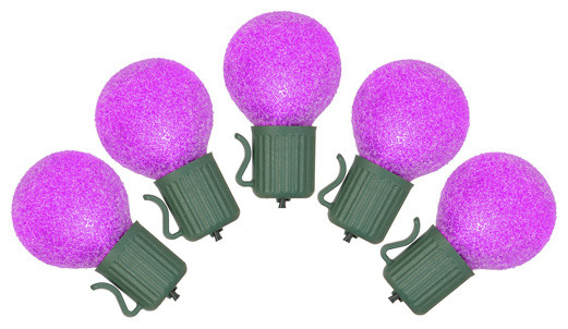 Set Of 10 Battery Operated Sugared Purple Led G30 Christmas Lights, Green Wire.