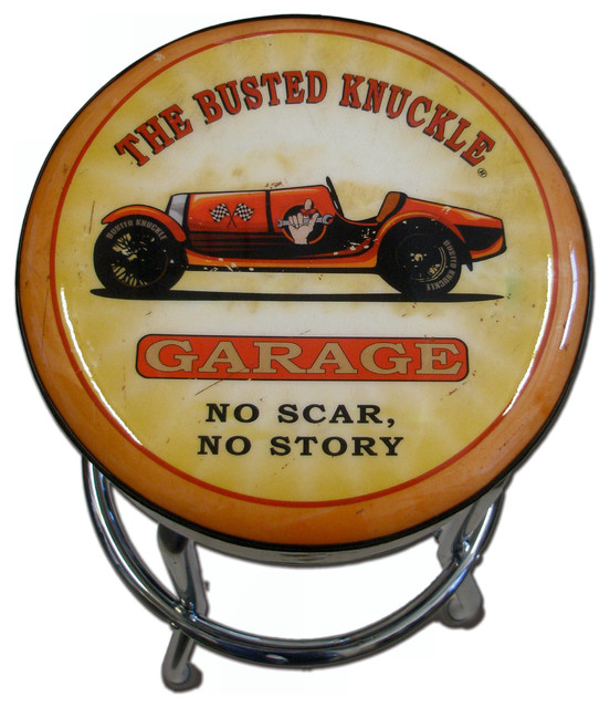 Busted Knuckle Garage Stool Race Car Graphic