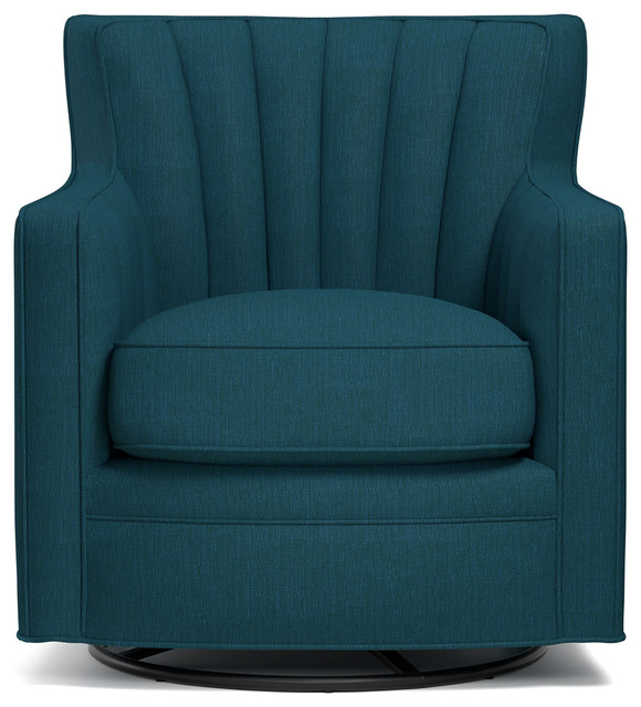 Shelby Linen Swivel Arm Chair, Teal.