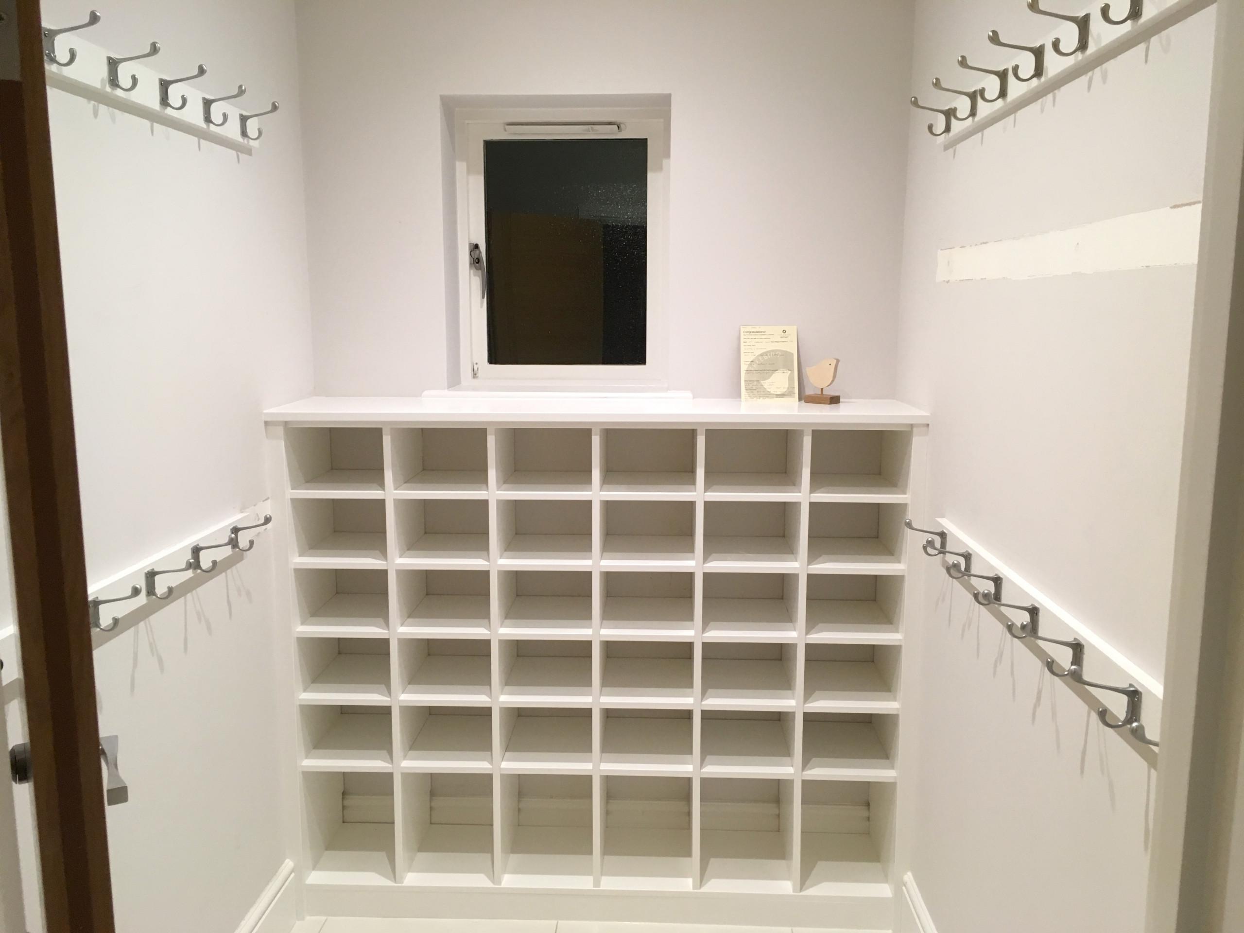 Cloakroom Shoe Shelves and Coat Hooks
