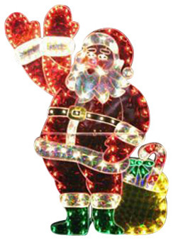 Holographic Lighted Waving Santa Claus Christmas Yard Art Decoration ...