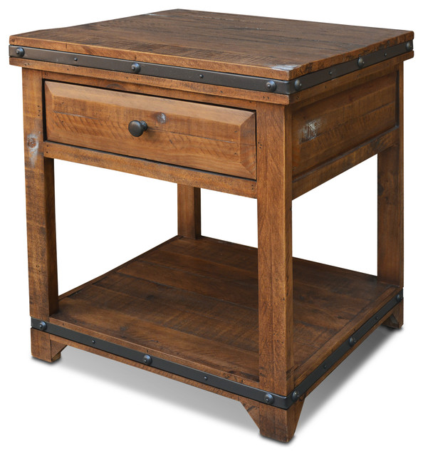 Addison Rustic Solid Wood End Table.