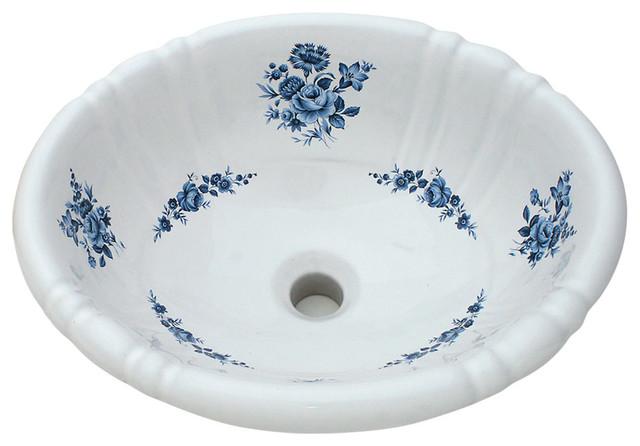 Amaranth Hand-Painted Sink, Blue.