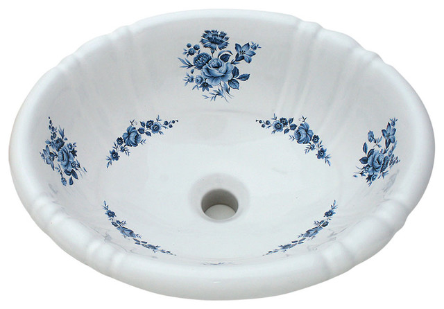 Good Amaranth Hand Painted Sink, Blue Traditional Bathroom Sinks