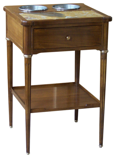Andromaque Walnut Cherry Wood End Table With Drinks Cooler Traditional Side  Tables And