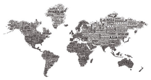 World Text Map Wall Decal Black On White View In Your Room - Modern world map