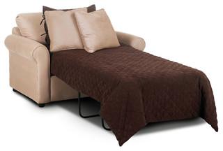 Ottawa Chair Sleeper Sofa, Microsuede Khaki   Transitional   Sleeper Chairs    By Savvy Home