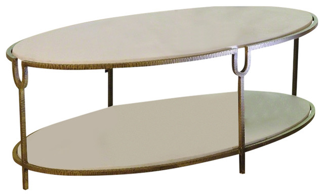 Iron And Stone Oval Coffee Table By Global Views Transitional Coffee Tables