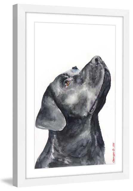 """black Labrador"" Framed Painting Print."