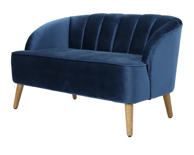 Scarlett Modern New Velvet Sofa Cobalt