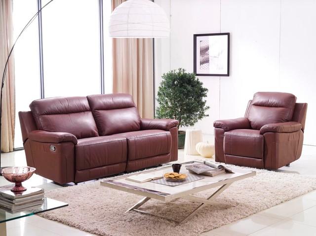 Isabella Italian Leather Reclining Sofa Set