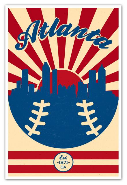 "Atlanta Braves Bedroom Decor: Atlanta Braves Vintage MLB Matte Poster 16""x24"