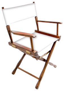 """Gold Medal 18"""" Walnut Classic Director's Chair, White"""