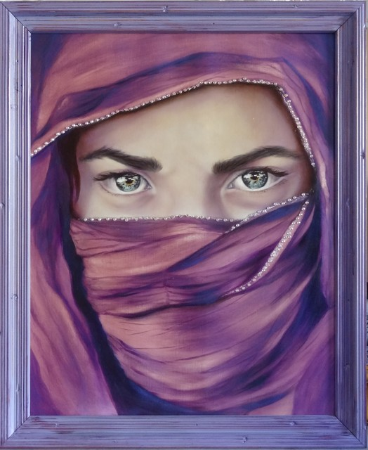 On the Silk Road, Oil Painting Beautiful Eyes - Paintings ...