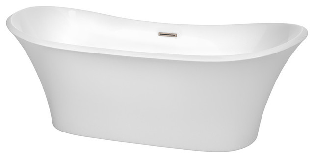 71 Freestanding Bathtub, White, Brushed Nickel, Drain, Overflow Trim.