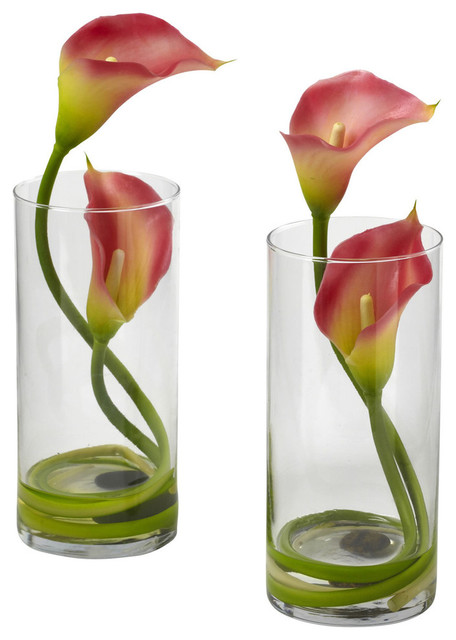 Double Calla Lily With Cylinder Set Of 2 Contemporary