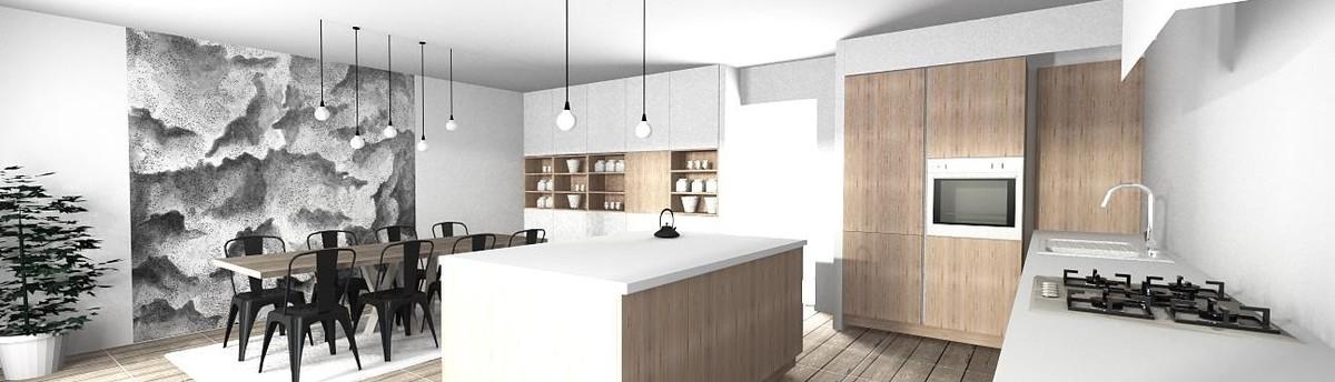 Cuisine ouverte dans une maison moderne à Meylan