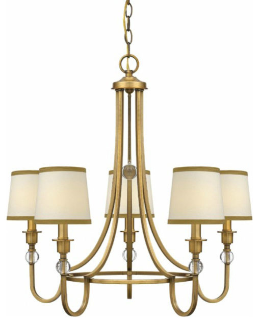 Modern Chandeliers Nyc: Traditional Gold And Fabric Shades Chandelier