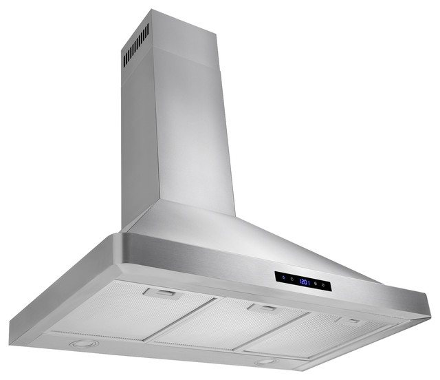 "Akdy 36"" Wall Mount Range Hood Stainless Steel Touch Panel, Duct/pipe."