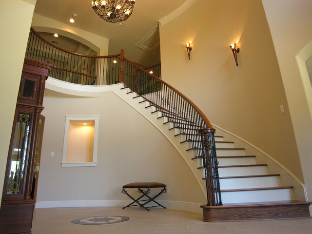 Curved Stairway Traditional Staircase Houston By