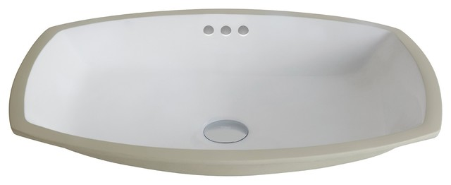 Elavo Ceramic Flared Rectangular Undermount Bathroom Sink With Overflow, White.
