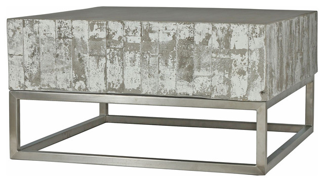 Peachy Maximus Concrete Chrome Distressed Square Block Coffee Table Ncnpc Chair Design For Home Ncnpcorg