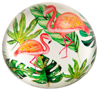 Glass Flamingo Objets d/'art Paperweight Ornament