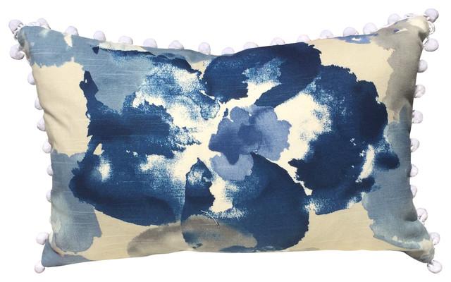 "Blue/white Floral Cotton Pillow Cover, White Pompom Trim, 14""x22""."
