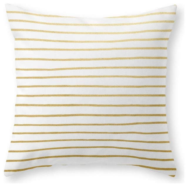 Gold Stripe Decorative Pillow : Gold Paris Stripe Pattern Throw Pillow - Contemporary - Decorative Pillows - by Society6