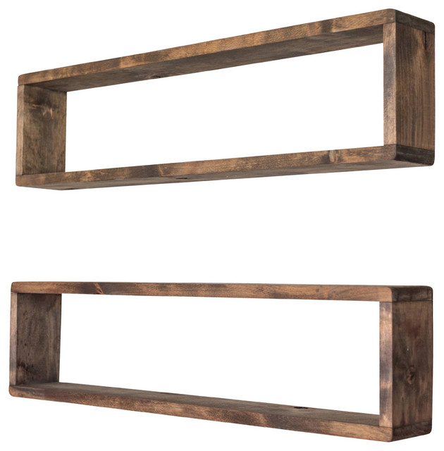 Floating Stackable Box Shelves, Walnut, Stain, Set of 2