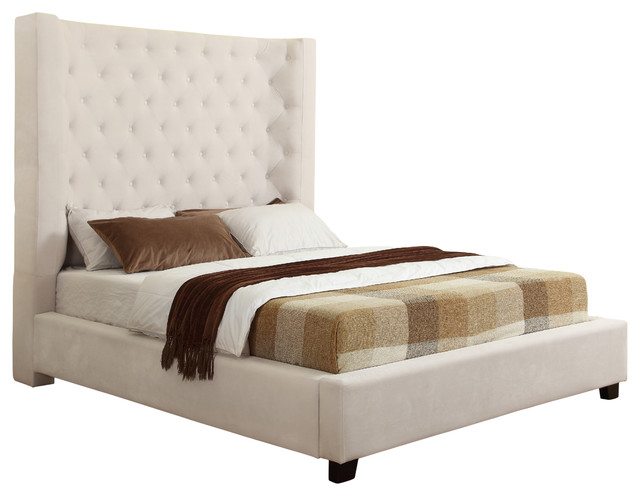 Jamie Upholstered Tower High Profile Contemporary Bed