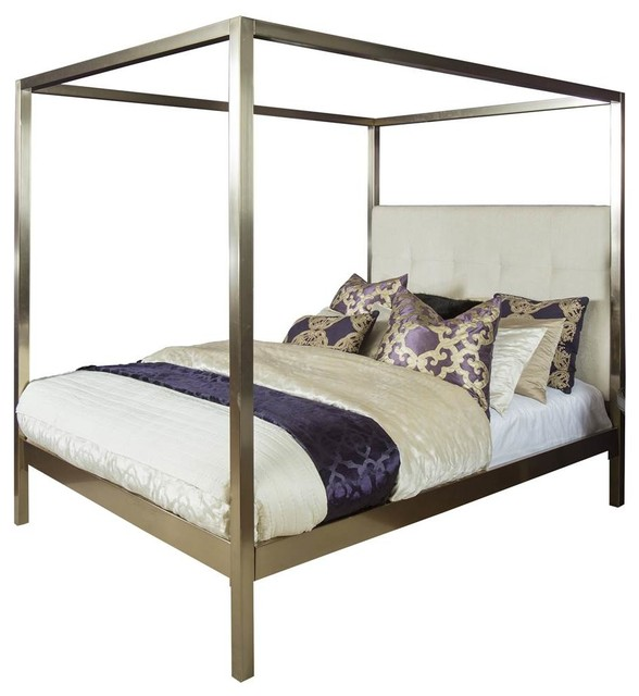 Canopy Bed, Champagne Brass Finish, Queen, 83