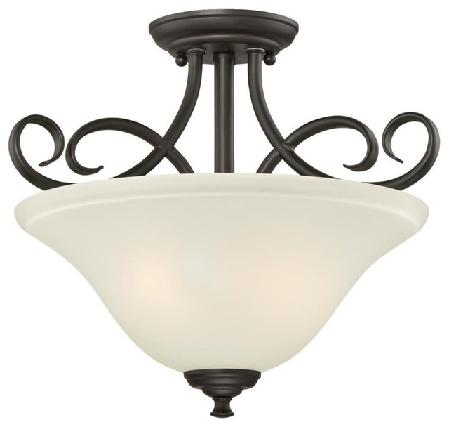 Westinghouse Dunmore 2-Light Semi-Flush, Oil Rubbed Bronze, Frosted