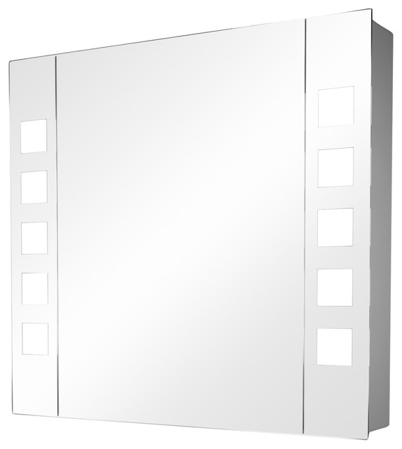 Demisting Mirrored Bathroom Cabinet and LED Squares, Without Built-In Speakers