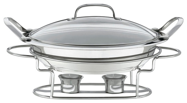 "Stainless Steel 11"" Round Buffet Server."