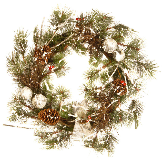 """24"""" Christmas Wreath With Cones."""