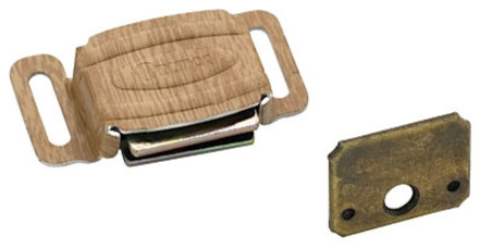 Magnetic Catch, Aluminum And Wood Grain - Traditional - Hinges - by DecorGlamour