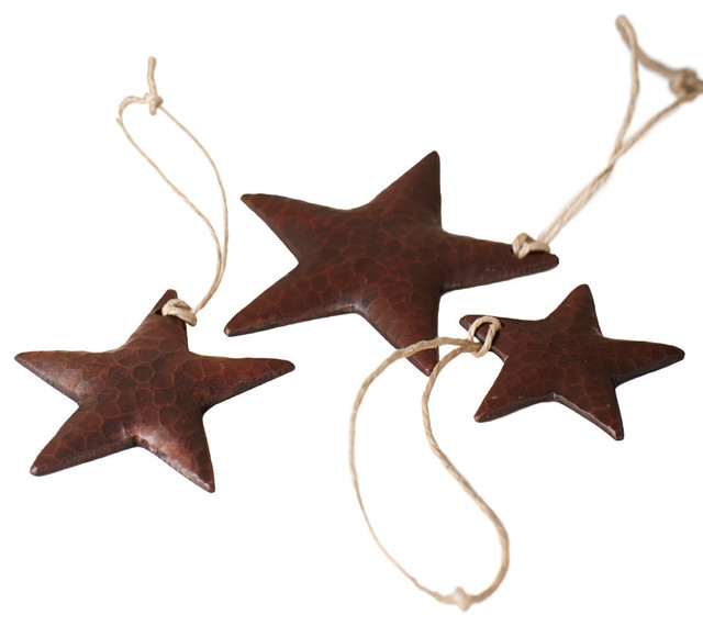 Copper Star Ornaments, Set of 3 - Rustic - Christmas Ornaments - by Native Trails